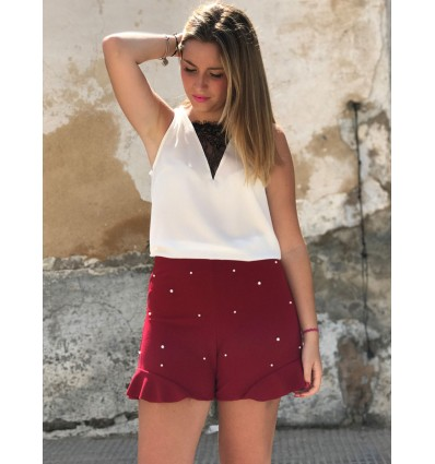 SHORT PERLAS GRANATE